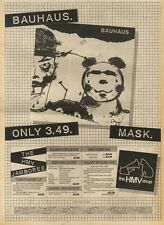 17/10/81PGN12 ADVERT: BAUHAUS MASK AVAILABLE NOW ONLY AT HMV STORES 15X11