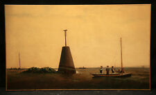 Antique 19th Century Painting Seascape with People Fishing