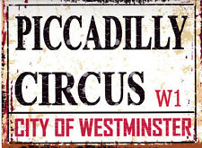 PICCADILLY CIRCUS METAL SIGN RETRO VINTAGE STYLE SMALL london games room shop