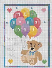 Sampler de Nacimiento Bebé Osos con / Globos Punto de Cruz Kit Completo #5-100