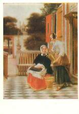Painting drawings art Postcard Russian art women on the porch