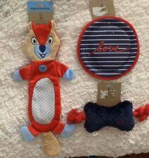 New listing Nwt 3 Ellen Degeneres Ed Dog Toys Squeaky Rope Bone Crinkle Beaver & Flyer New