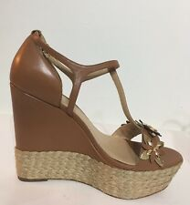NEW Michael Kors Heidi Wedge Light Brown Women Shoes Size 8