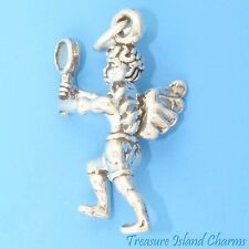GUARDIAN TENNIS PLAYER ANGEL 3D .925 Solid Sterling Silver Charm MADE IN USA