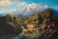 Huge Oil painting Paul Linke landscape of South Tyrol overlooking the Marmolada