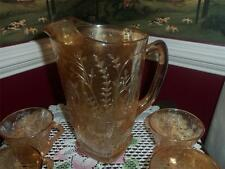 Jeannette Glass Iridescent  FLORAGOLD PATTERN  MARIGOLD WATER PITCHER  4 CUPS