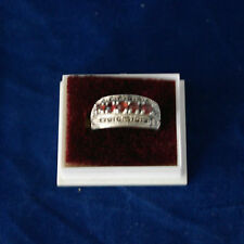 Beautiful 925 Silver Ring With Marcasite And Faceted Garnet 5 Gr.1x2 Cm. Wide