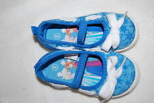 Toddler Girls Shoes BRIGHT BLUE SNOWFLAKE Slip On Canvas DISNEY FROZEN Summer 6