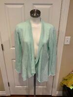Eileen Fisher Light Blue Linen Open Front Cardigan Sweater, Size Medium