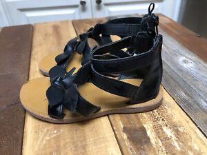 Oshkosh B'Gosh Sandals Girl's Sz 9 Bow Detail/Zip Closure