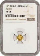 1871 Cal. Gold 25c NGC MS62 (BG-838) - California Fractional Gold