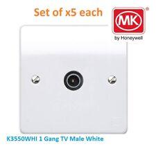 MK Electric LOGICA PLUS K3550WHI 1 Gruppo presa maschio TV Presa Bianca * Set di 5 *