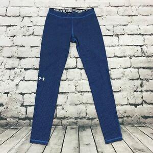 Under Armour Women's Leggings Blue Geometric Print 7/8 Length Spellout Waist S