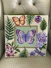 VTG COMPLETED LEE BUTTERFLIES & FLOWERS NEEDLEPOINT EMBROIDERY FINISHED TAPESTRY