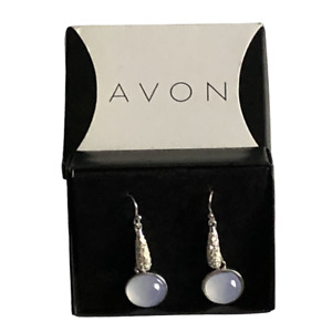 Avon Pierced Wire Earrings Simulated Shimmer Pave Drop Blue Moonstone