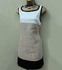 Karen Millen DS127 Ivory Beige Block Uptown Tweed Shift Mini Tunic Dress 14 UK