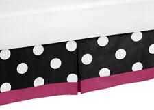 Sweet Jojo Designs Toddler Bed Skirt Dust Ruffle for Hot Dot Pink Black Bedding