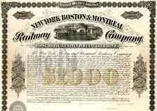 New listing 1873 New York Boston & Montreal Rw Bond Certificate