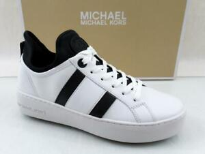 Michael Kors Ace Stripe Lace Up Designer Sneakers MK Logo white / Black Size 7.5