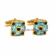 Natural Blue Topaz & Sapphire stones 925 Sterling Silver Gold Plated  Cufflinks