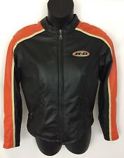 Womens Harley Davidson Leather Jacket Size L Large Black Orange Biker Motorcycle