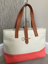 FOSSIL AUSTIN CANVAS & LEATHER SHOPPER TOTE BAG RETAIL £119 BNWT