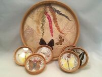 1970's Vintage Bamboo Tray and 6 Coaster Set Butterfly Theme