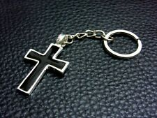 KC026 Black Cross Keychain Pewter Key Ring Christian Gift Bag Free Sign Religion
