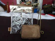 bronze ID holder by Icing plus clear makeup bag with gold accents
