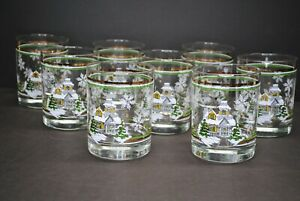 "VINTAGE ""CHRISTMAS HOUSE"" GREEN/GOLD HOLIDAY OLD FASHION ROCKS GLASSES SET OF 8"