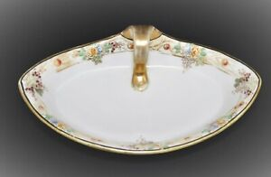ANTIQUE NIPPON JAPAN HAND PAINTED HANDLED CELERY CONDIMENT DISH