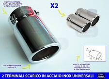 Terminale scarico auto inox universale per marmitta tuning cromato in acciaio 2