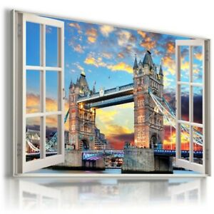 LONDON TOWER BRIDGE THAMES 3D Window View Canvas Wall Art Picture W620 UNFRAMED