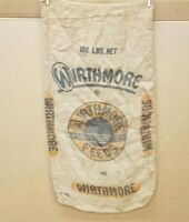 Vintage Wirthmore Feeds Poultry Dairy Stock 100 lb. Burlap Seed~Feed Bag Sack