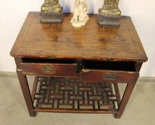 Antique Chinese writing desk carved hall table console 2 drawers original 1880's