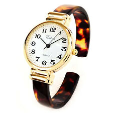 Tortoise Gold Acrylic Band Slim Case Bangle Cuff Watch for Women