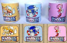 Sonic Adventure Dreamcast Conjunto de 3 Tazas De Café + 3 Posavasos de madera que empareja