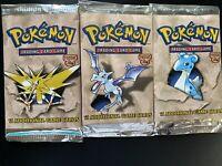 1999 Pokemon Fossil Booster Pack Art Set, Lapras, Zapdos, Aerodactyl -RESEALED
