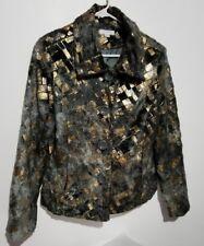 Grey Gold Jacket by Erin Womens Top Small Grey Gold Tone - BINT