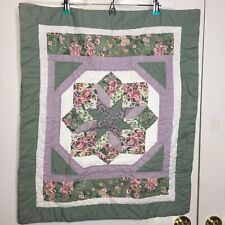 Two Quilted Shams (Standard Size Pillow) Green, White And Purple. Hand Quilted