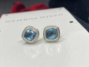$1200 DAVID YURMAN,STERLING SLIVER PETITE ALBION BLUE TOPAZ DIAMOND EARRINGS
