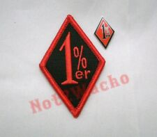Outlaw Biker Red and Black 1%er One Percenter Patch and Pin Combo