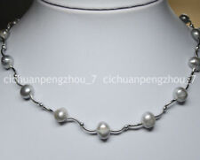 Wholesale Real Natural 8-9mm silver Baroque Freshwater Pearl Necklaces C2219