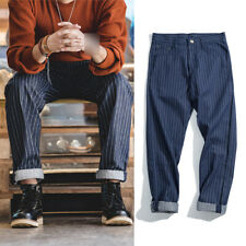 Vintage Railroad Stripes Wabash Denim Jeans Men's Navy Overalls Straight Pants