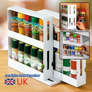 2Tier Rotating Spice Rack Spice Jars Organiser New Cabinet Kitchen Storage Shelf