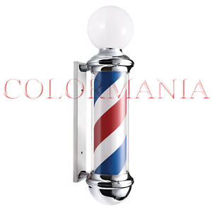 BARBER POLE INSEGNA LUMINOSA CON SFERA  SALONE BARBIERE BARBER SHOP 85 CM