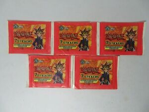Lot of 5 unopened sealed 1996 Topps Yu-Gi-Oh 7 sticker packs