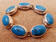 Vintage Artist Signed Heavy Sterling Bezel Set Turquoise Link Bracelet Mexico