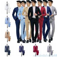 Men Casual Business Slim Fit Formal Suit One Button Coat+Pants Wedding Dress