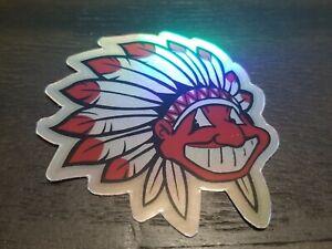 Holographic Chief Wahoo STICKER - Cleveland Indians Headdress WATERPROOF VINYL